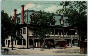 1912 Au Sable Forks, New York Postcard AMERICAN HOUSE Hotel View / Stage Coach
