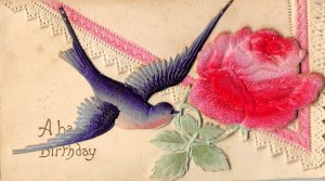Happy birthday Bird with rose colored flowers Novelty Writing on Back