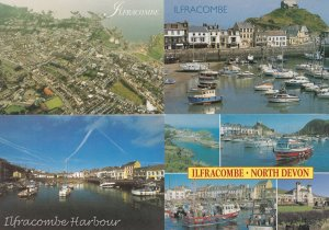 Ilfracombe Harbour Boats Sailing Ships 4x Postcard s