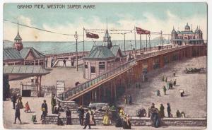Somerset; Grand Pier, Weston Super Mare PPC Unposted, c 1910's
