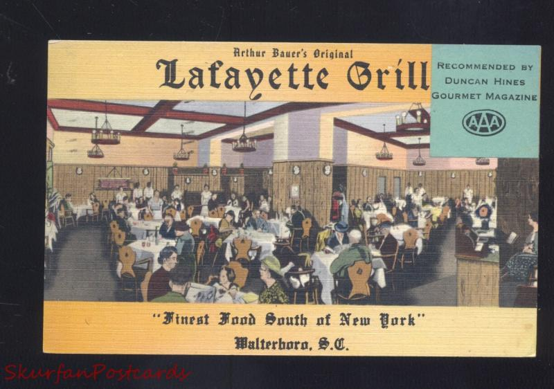WALTERBORO SOUTH CAROLINA LAFAYETTE GRILL VINTAGE LINEN ADVERTISING POSTCARD