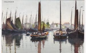 Netherlands Volendam Harbor Scene