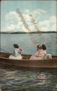 Springfield SD Fishing Romance Greetings c1910 Postcard