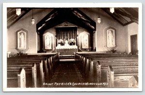 Minoqua Wisconsin~St Patrick's Catholic Church Interior~Closed 2004~1944 RPPC
