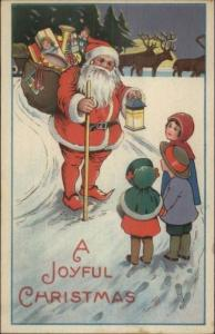 Christmas - Santa Claus Meets Children on Snowy Road 732 A Postcard c1915