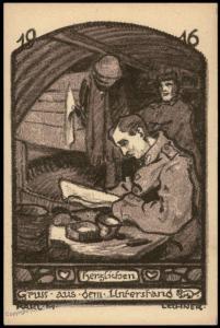 Germany WWI Feldpost Service Illustration Patriotic Card 77340