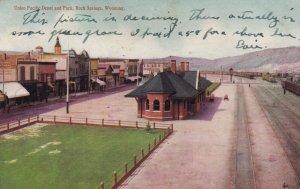 ROCK SPRINGS , Wyoming , 1907 ; Railroad Train Depot