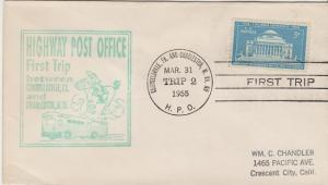 FIRST TRIP HIGHWAY POST OFFICE between Connellsville, Pa & Charleston, WV, 1955