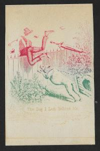 VICTORIAN TRADE CARD A&P Tea Co Man Flying Over Fence 'The Dog I Left Behind Me'