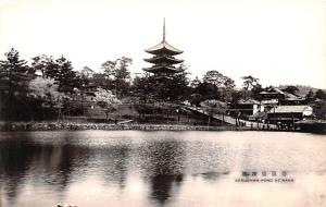 Japan Old Vintage Antique Post Card Sarusawa Pond Nara, Real Photo Unused