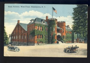 Middletown, New York/NY Postcard, State armory, West Front, Old Cars, 1916