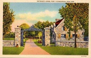 New York Fort Ticonderoga Entrance Lodge 1941 Curteich