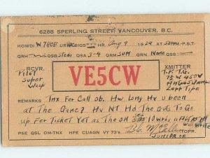 1920s QSL RADIO CARD Vancouver British Columbia BC AH3142