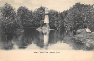 Detroit Michigan~Palmer Park-Lighthouse on Island~c1905 B&W Postcard