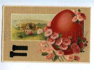 169858 EASTER Red EGG w/ Daisy Flowers Vintage EMBOSSED PC