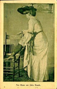 Victorian Woman Exposing Ankle No Run on the Bank  Risque Vintage Postcard