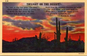 Cactus Twilight On The Desert Poem By Roscoe G Wilson Curteich