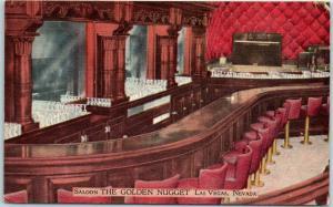 Las Vegas, Nevada Postcard GOLDEN NUGGET CASINO Saloon Bar Interior Linen c1950s