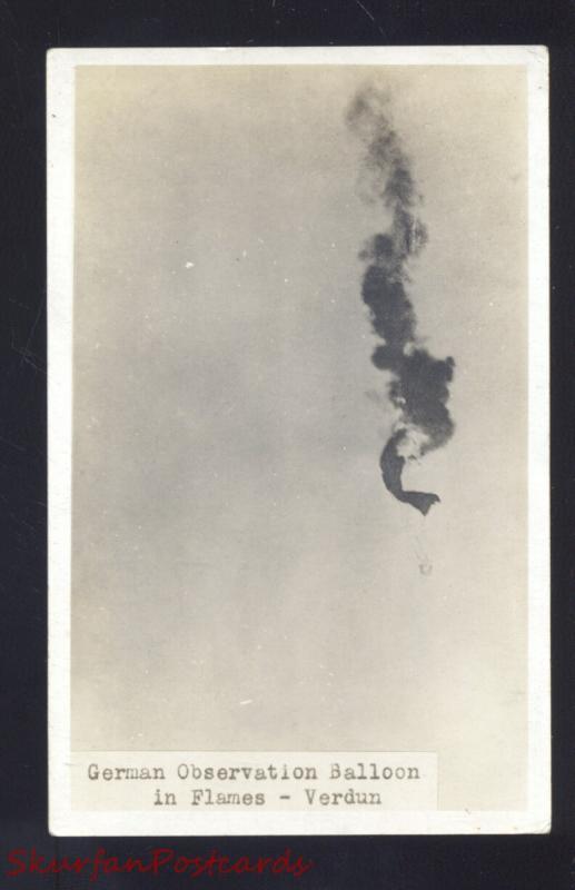 RPPC WW1 BATTLE ACTION GERMAN SPY BALLOON IN FLAMES SHOT REAL PHOTO POSTCARD