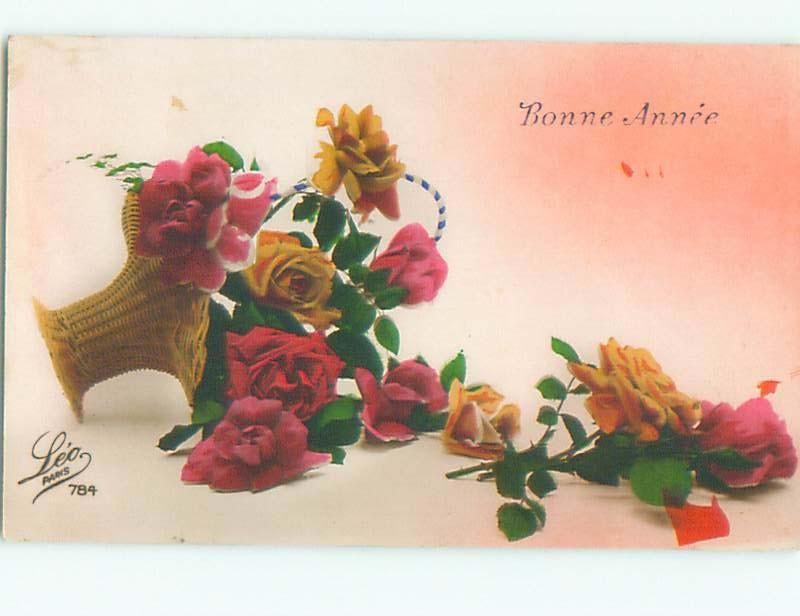 Very Old Foreign Postcard BEAUTIFUL FLOWERS SCENE AA4159