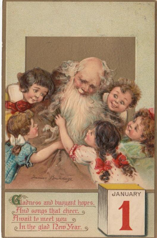 AS; Frances Brundage, PU-1911; NEW YEAR, Father time and Children, January 1