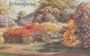 AS: BIRTHDAY, 1900-10s; Greetings, Lovely Garden of Floral Bushes