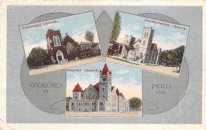 Indiana In Postcard 1916 PERU 3 Churches Fancy Border Baptist Presbyterian Ep