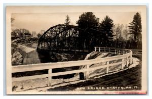 Postcard New Bridge, Strong, Maine ME *warped horizontally* RPPC I12 D