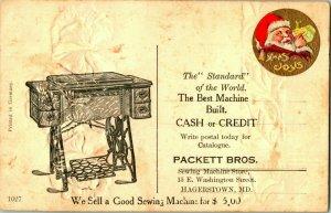 Vtg Postcard Hagerstown MI Advertising Packett Brothers Sewing Maching Birthday