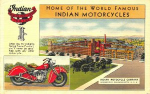 Springfield MA Home of The World Famous Indian Motorcycles Factory Postcard