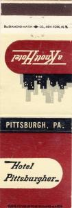 Pittsburgh, Pennsylvania/PA Matchcover, Hotel Pittsburgher
