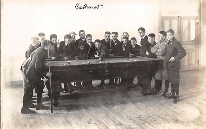 Bathurst, Canada Real Photo Pool Billiards  Carte Postale writing on back