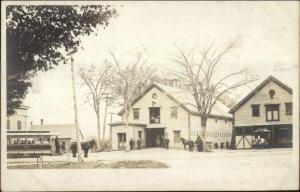 Trolleys & Town Buildings - Wenham MA Written on Back Real Photo Postcard