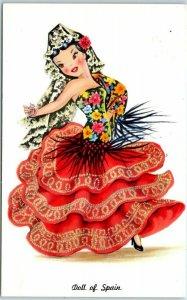 Vintage DOLL OF SPAIN Postcard Toy Dancer Tichnor Chrome c1960s Unused