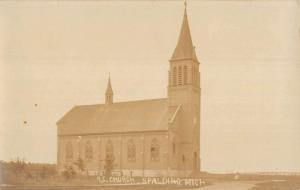 Spalding Michigan RC Church Exterior Real Photo Antique Postcard K24055