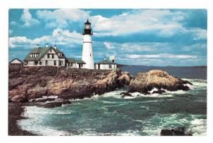 First Lighthouse Portland Head Light Maine Vintage Eva Luoma Photo Postcard