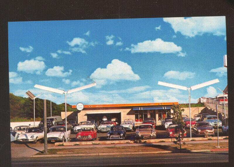 HAMPTON MOTORS USED CAR DEALER ADVERTISING POSTCARD 1950's CARS AUTOMOBILE