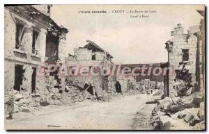 Postcard Old devastated Aisne Crouy Laon Road