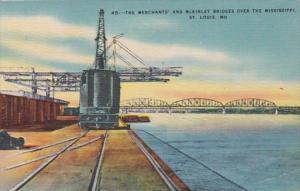 Missouri St Louis The Merchants' and McKinley Bridges Over The Mississippi