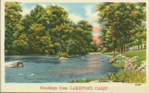 Greetings from Lakeport California unused linen Postcard