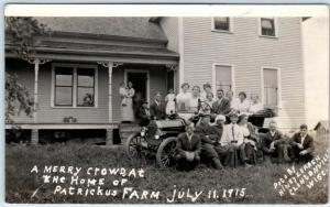 RPPC  CLINTONVILLE, Wisconsin WI   Crowd PATRICKUS FARM 1915 Early Car  Postcard