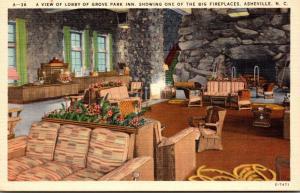 North Carolina Asheville Grove Park Inn Lobby Showing Big Fireplace