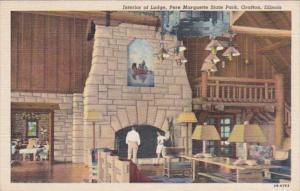Illinois Grafton Interior Of Lodge Pere Marqquette State Park 1943 Curteich