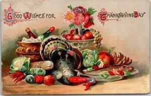 1910s THANKSGIVING Greetings Postcard Dinner Table Scene Good Wishes Unused