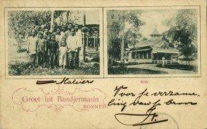 indonesia, BORNEO BANDJERMASIN, Church, Native Malaysian People (1901) Postcard