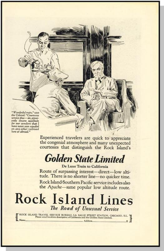 1927 Rock Island Lines Railroad Ad, Golden State Limited
