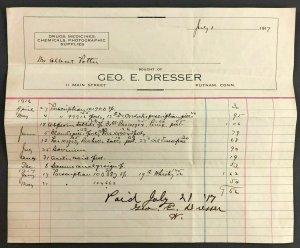 1917 George Dresser Druggist Putnam CT Bill Invoice Receipt Main Street Chemical