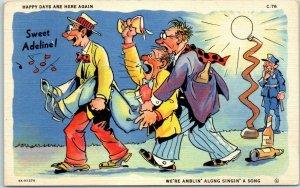 1940s RAY WALTERS Postcard Sweet Adeline Curteich Linen WET COMICS C-76 Unused