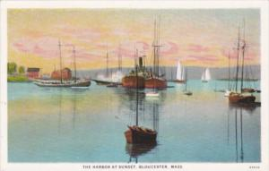 Massachusetts Gloucester The Harbor At Sunset Curteich