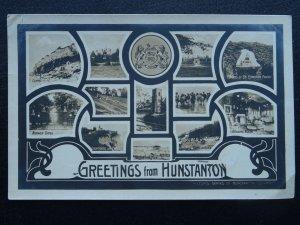 Norfolk HUNSTANTON 13 Image Multiview c1906 RP Postcard by Hilton's